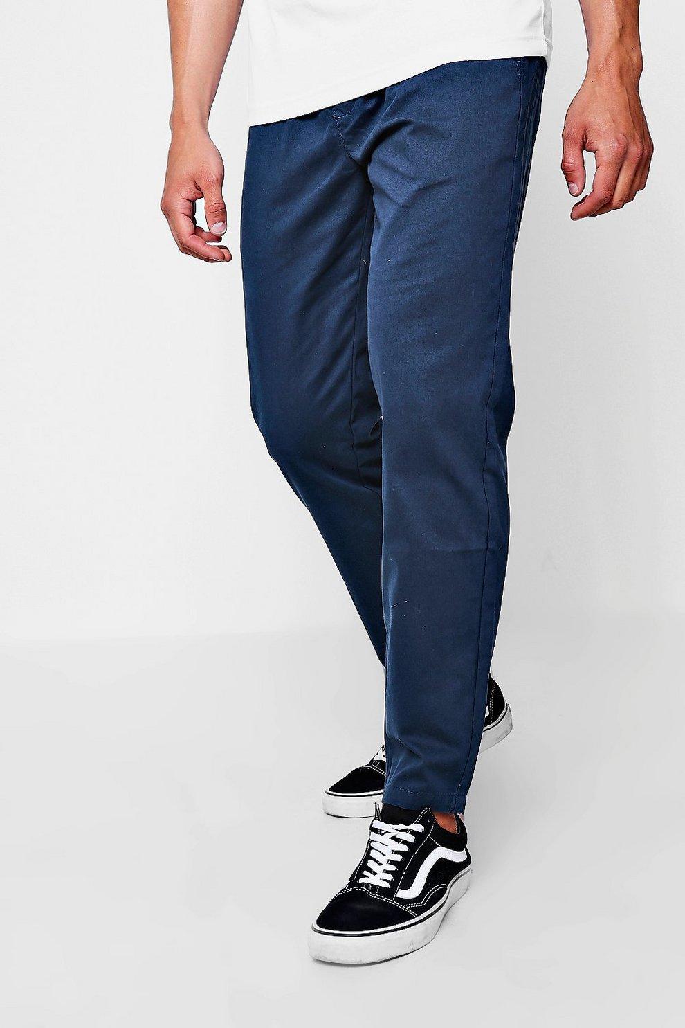 641203704c93 Navy Jogger Style Chino Trouser   Boohoo