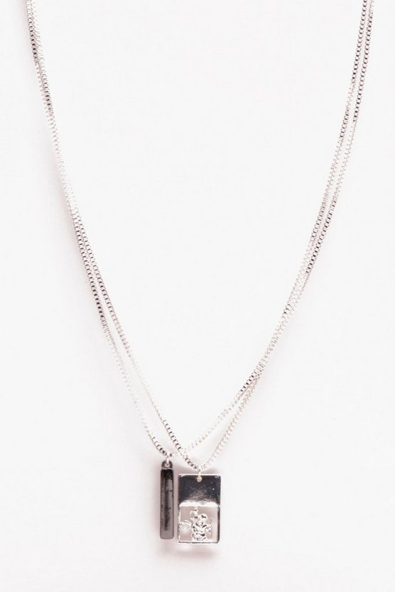 Double Rectangle Piece Necklace