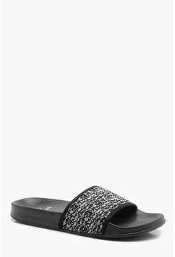 Mens Black Fly Knit Slider