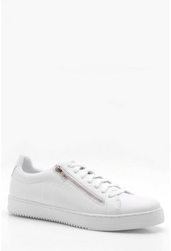 Mens White PU Croc Embossed Trainer With Metal Zip Detail