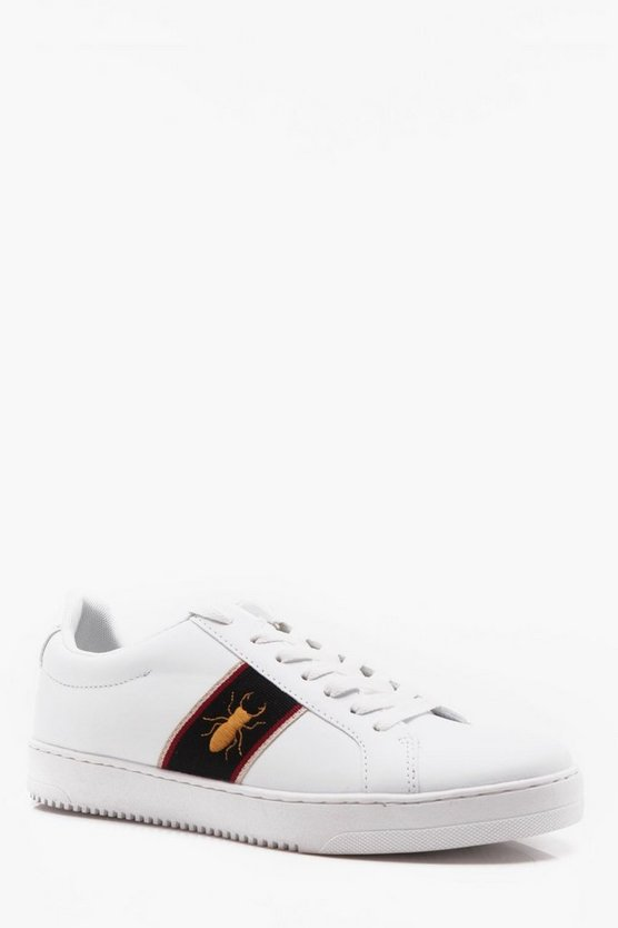 White PU Trainer With Side Stripe And Beetle Embroidery