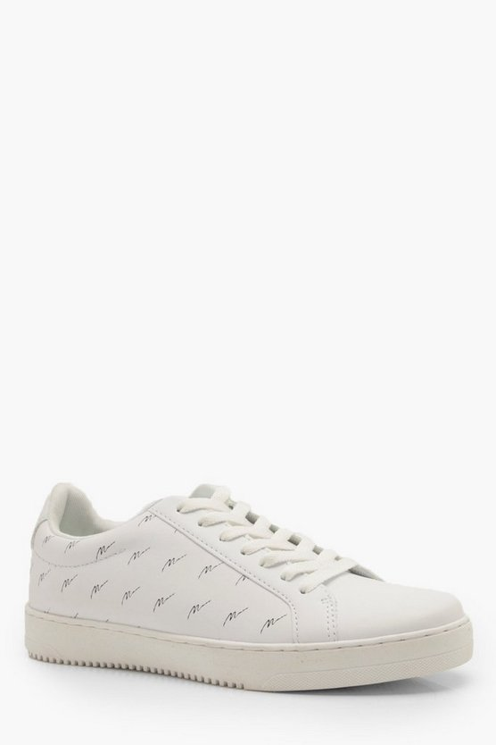 Mens White PU Trainer With MAN Script Print