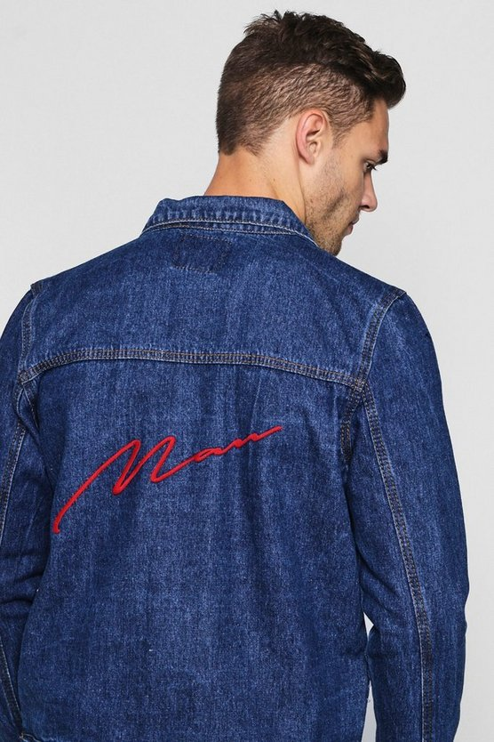 MAN Embroidery Denim Jacket