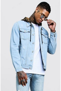 Mens Light blue Denim Jacket With Leopard Jersey Hood