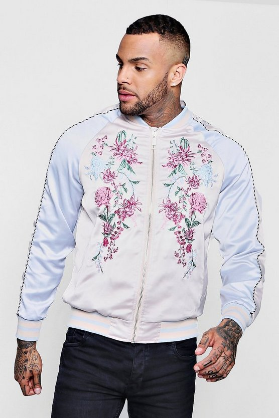 Blue Embroidered Colour Block Bomber