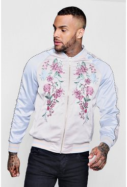 Mens Blue Embroidered Colour Block Bomber