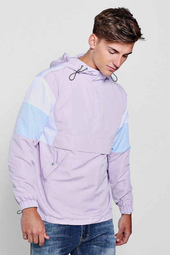 Colour Block Hooded Half Zip Cagoule