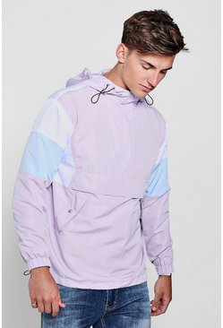 Mens Lilac Colour Block Hooded Half Zip Cagoule