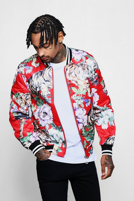 Printed Sports Tape Sateen Bomber
