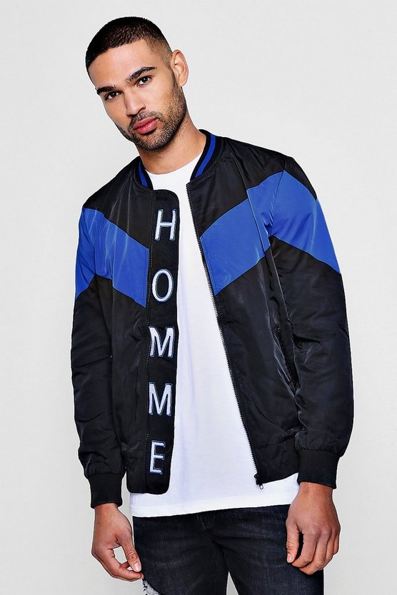 MAN Embroidered Colour Block Bomber