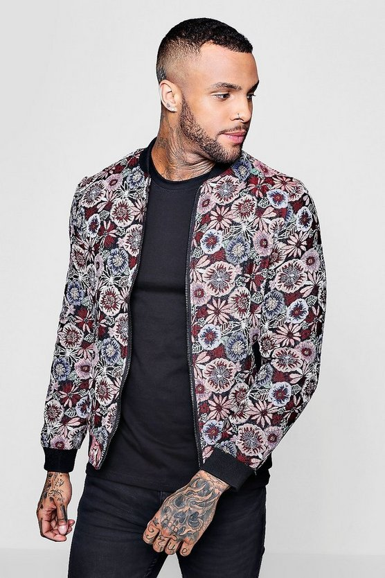 Floral Woven Jacquard Bomber