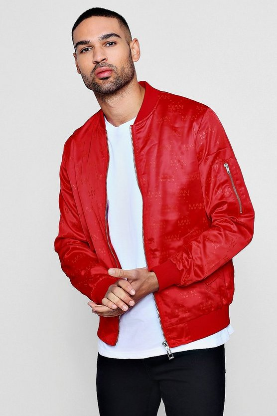 Mens Red MAN Repeat Sateen Bomber Jacket