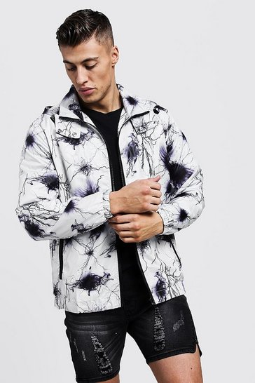 Mens Black Printed Zip Through Cagoule