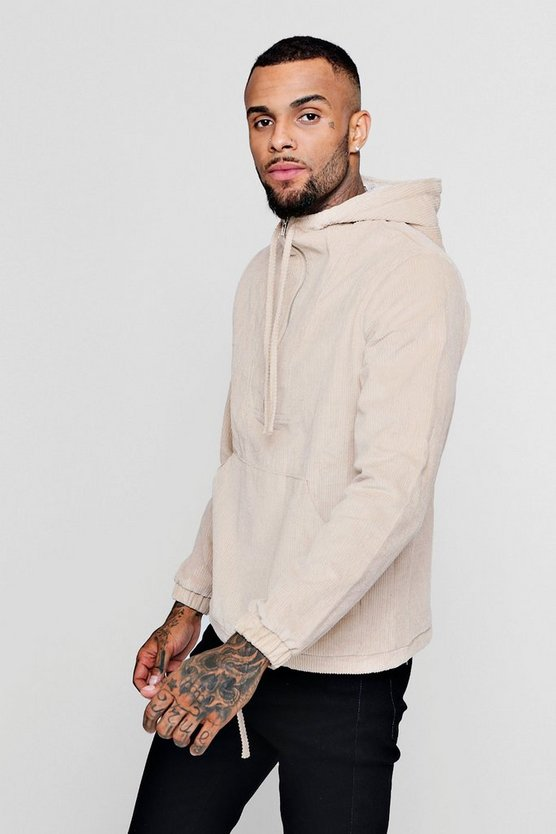 Corduroy Half Zip Hooded Jacket