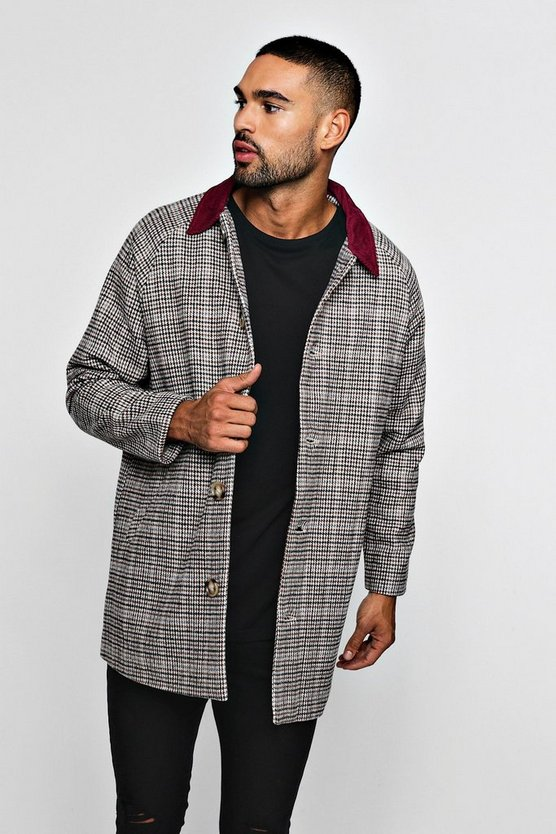 Wool Look Check Mac With Cord Collar
