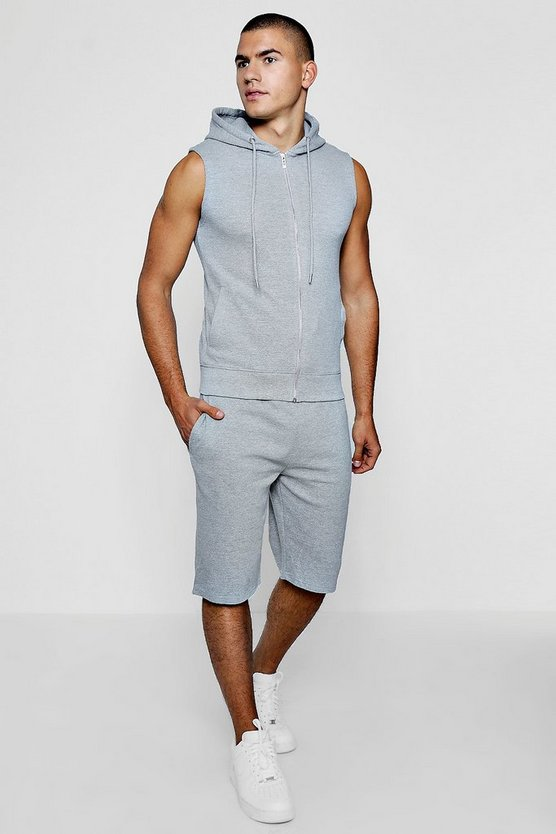 Sleeveless Pique Over The Head & Short Set
