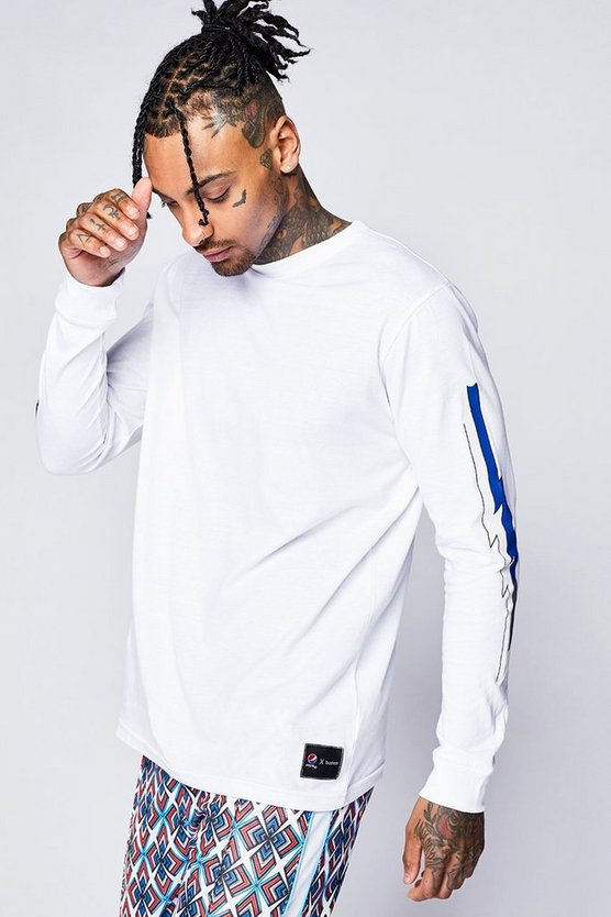 Pepsi x boohoo Skater Fit Long Sleeve T-Shirt