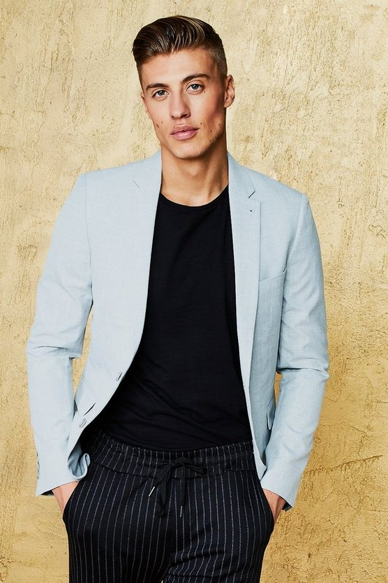 Single Breasted Skinny Fit Textured Blazer