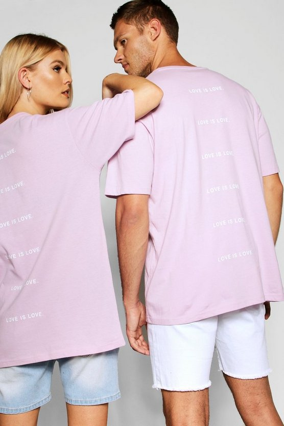 "Pride """"""""Love is"""""""" Back Print Loose Fit T Shirt, Pale pink, МУЖСКОЕ"