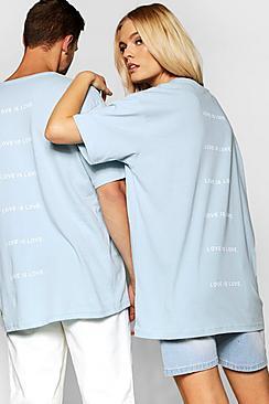 "Pride """"Love is"""" Back Print Loose Fit T Shirt"
