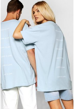 "Mens Pale blue Pride """"Love is"""" Back Print Loose Fit T Shirt"
