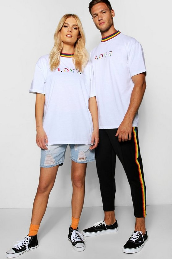 Pride Embroidered Love T Shirt in Loose Fit