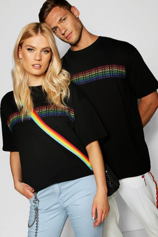 "Mens Black Pride """"Love is"""" Rainbow T Shirt in Loose Fit"