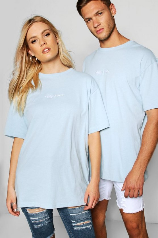 "Mens Pale blue Pride """"F**k Hate"""" T Shirt in Loose Fit"