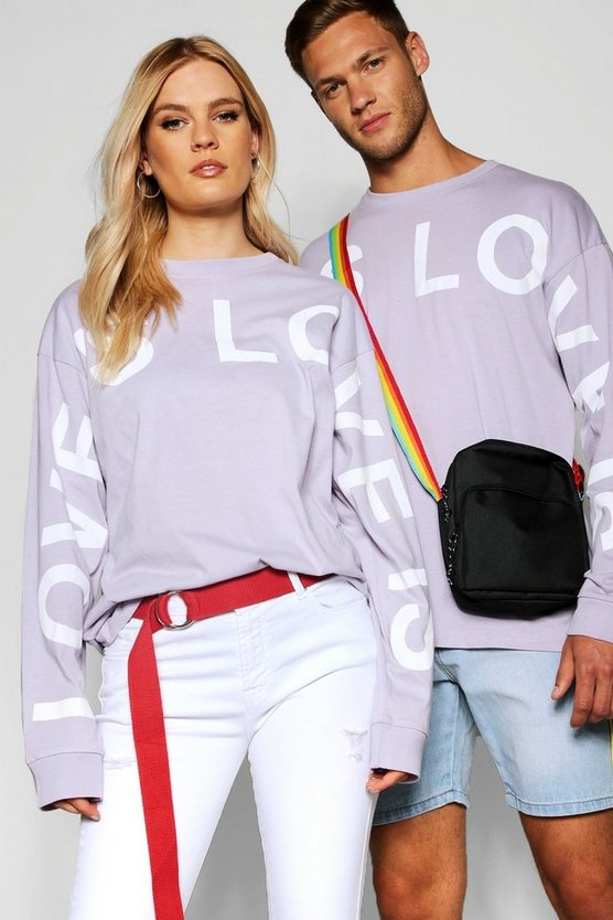 "Mens Lilac Pride """"Love is"""" Long Sleeve T Shirt in Loose Fit"