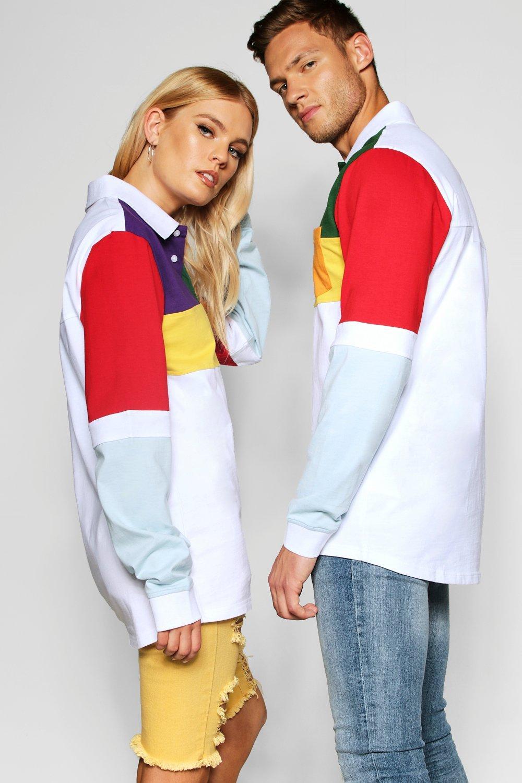 con blanco de largas estilo liso mangas color rugby Pride Top waBzXB