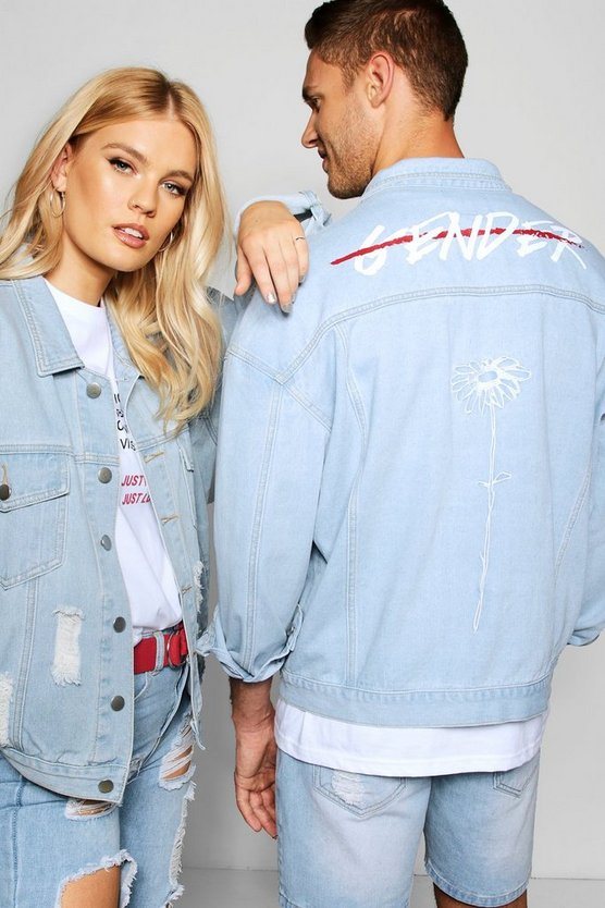 "Pride """"End Gender"""" Oversized Denim Jacket"