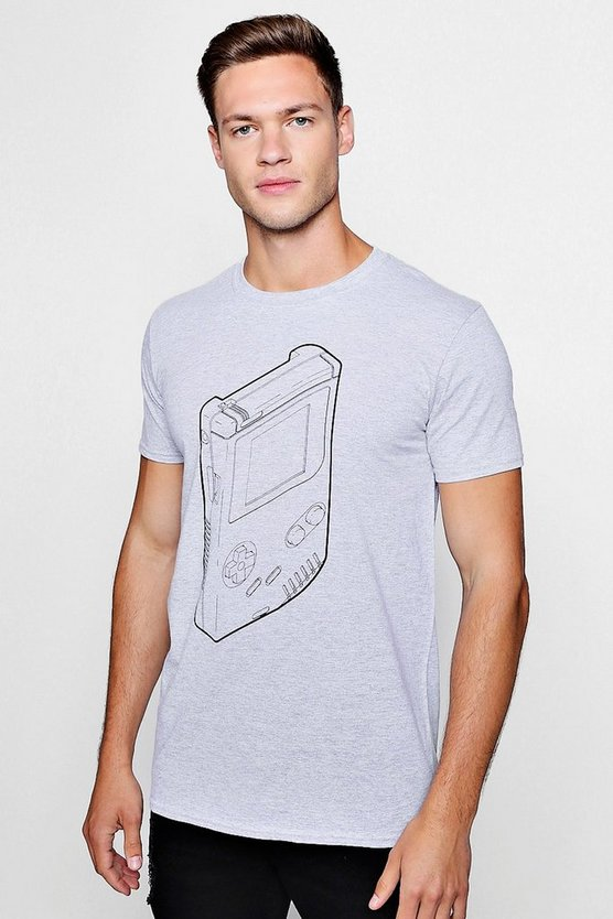 Mens Grey marl Retro Gameboy Print T-Shirt