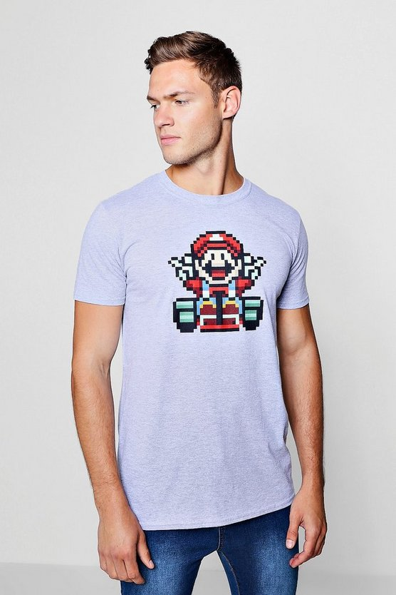 Super Mario License Pixel Print T-Shirt