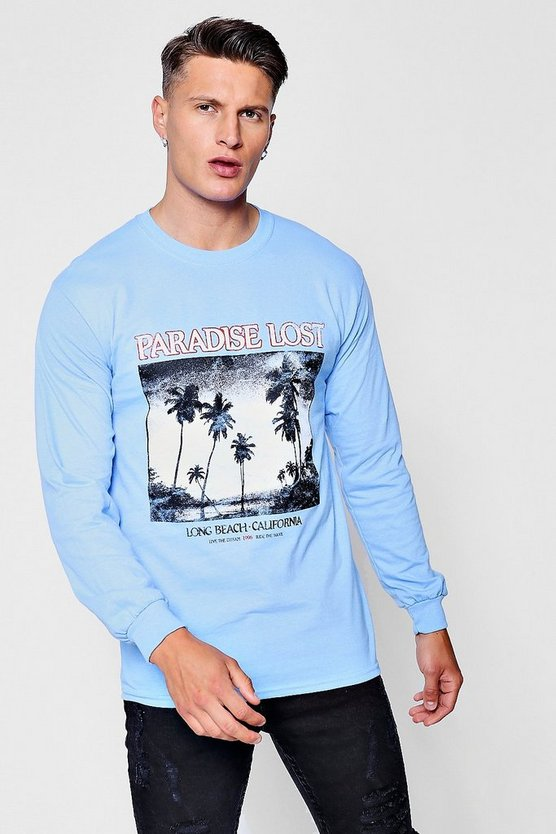 Long Sleeve Negative Photo Print T-Shirt