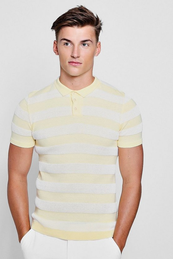 Contrast Knitted Rib Polo