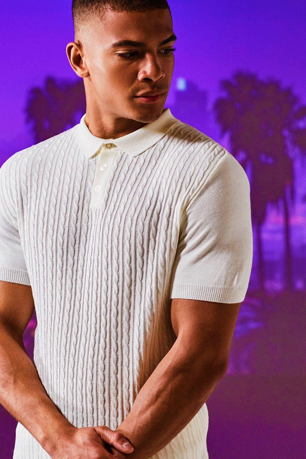 Vintage Shirts – Mens – Retro Shirts Mini Cable Knit Short Sleeve Muscle Fit Polo $32.00 AT vintagedancer.com