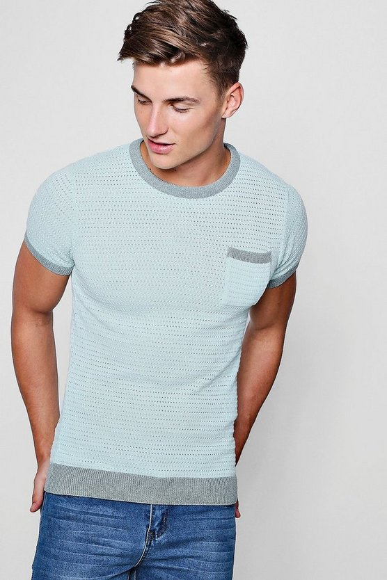 Contrast Chest Pocket Knitted Muscle Fit T-Shirt