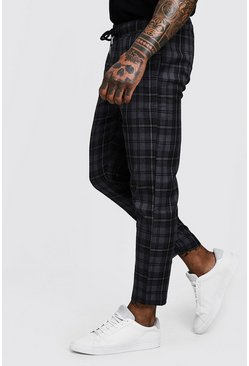 Mens Grey Check Woven Jogger With Elasticated Waist