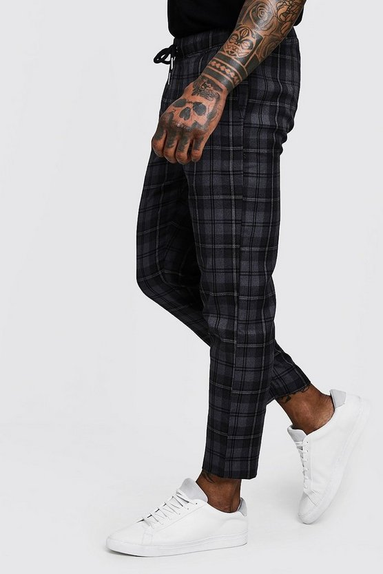 Mens Grey Grey Check Woven Jogger With Elasticated Waist