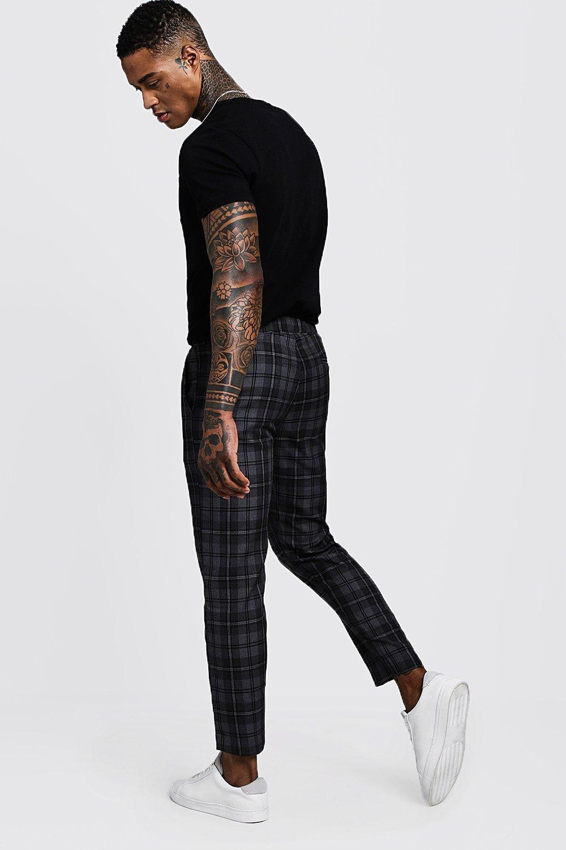 gris deporte Pantalones con cuadros gris a cintura DA elástica de tejidos REBcSac
