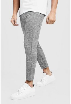 Mens Tapered Fit Pants In Grey Windowpane Check