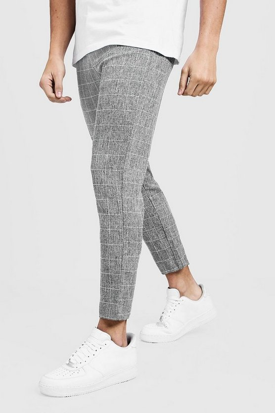 Tapered Fit Pants In Grey Windowpane Check