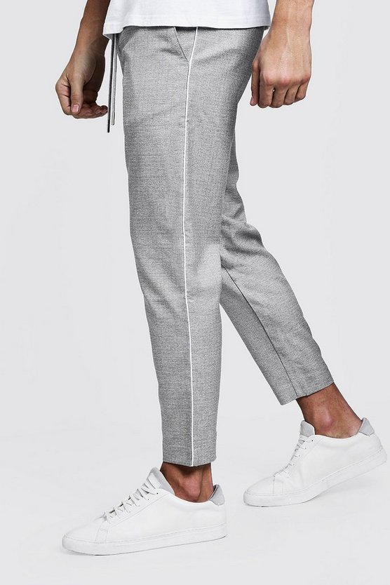 Grey Woven Jogger With White Side Piping