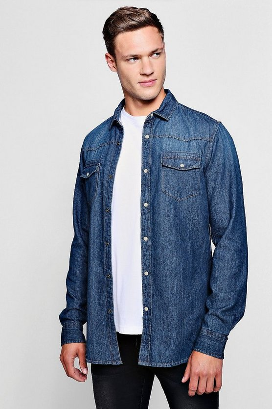 Long Sleeve Denim Western Shirt