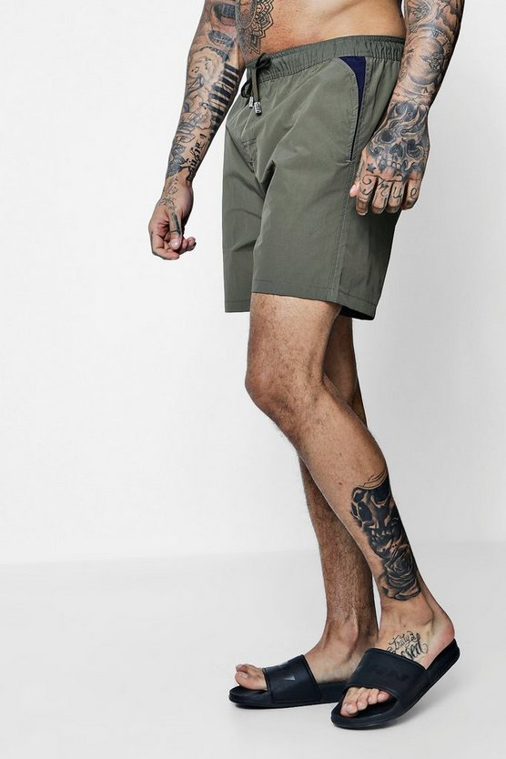 Mid Length Swim Short With Contrast Pocket