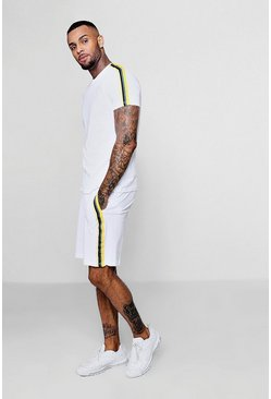 Mens White T-Shirt And Short Set With Side Tape