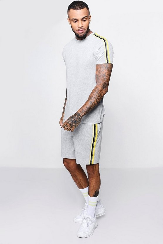 Mens Grey T-Shirt And Short Set With Side Tape