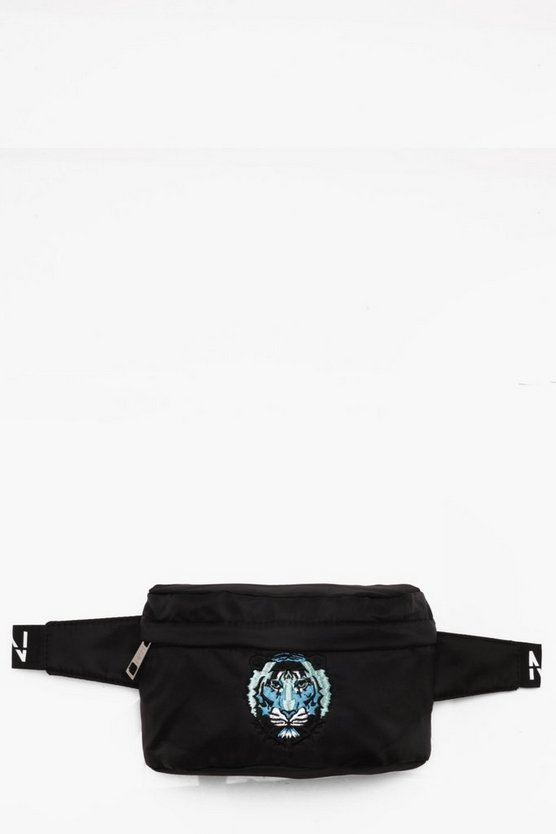 Mens Black Tiger Embroidered Nylon Bumbag