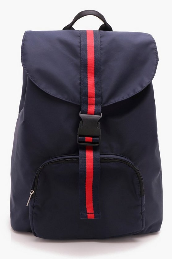 Mens Navy Heavy Nylon Stripe Tape Rucksack