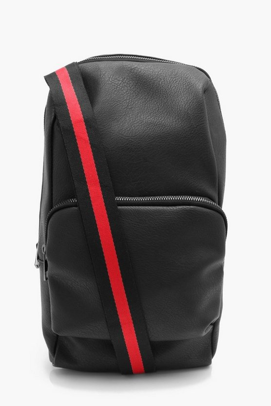 Mens Black One Strap PU Bag With Stripe Webbing Strap